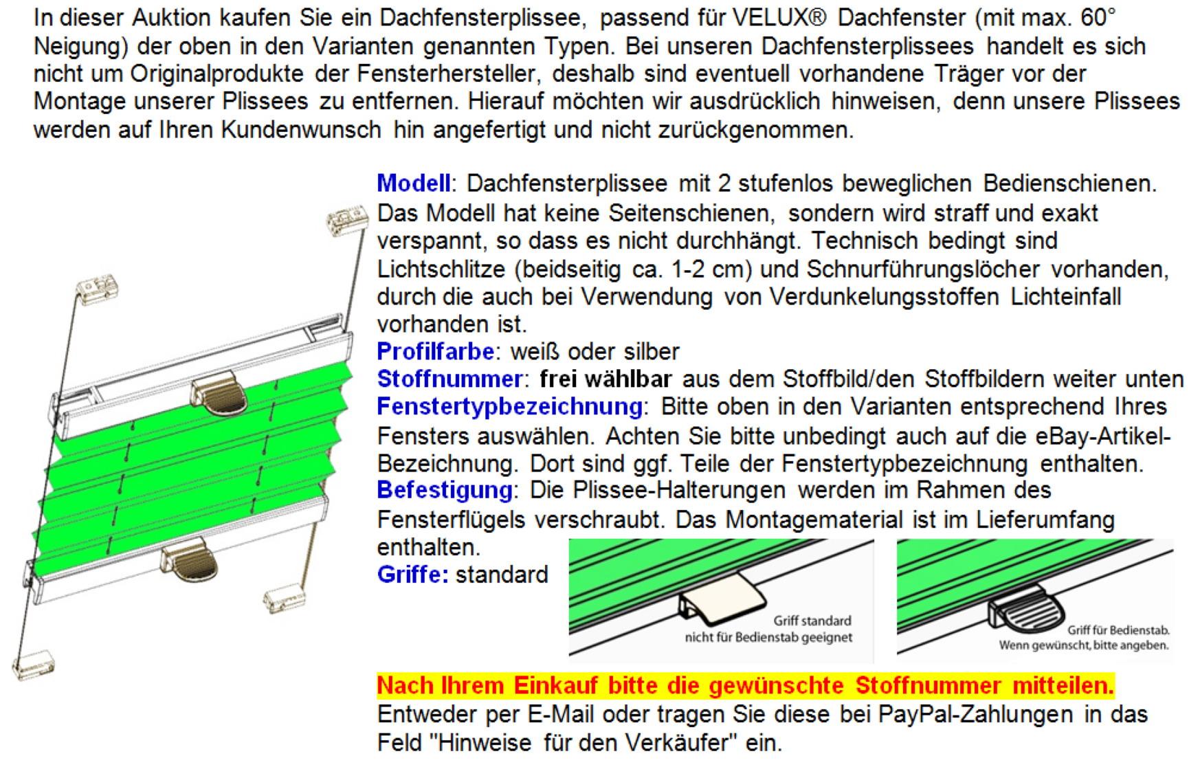 Plissee faltstore f r velux pvc dachfenster ggu - Verdunkelungsrollo fur dachfenster ...